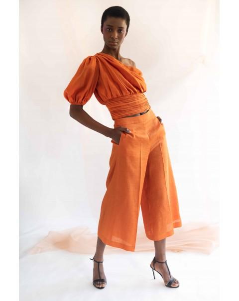 One-Shoulder Linen Orange Blouse